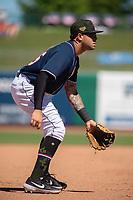 Northwest Arkansas Naturals infielder Emmanuel Rivera (26) readies for a pitch on May 19, 2019, at Arvest Ballpark in Springdale, Arkansas. (Jason Ivester/Four Seam Images)