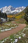 Autumn snow and the Maroon Bells Peaks, Aspen, Colorado John offers fall foliage photo tours throughout Colorado. .  John leads hiking and photo tours throughout Colorado.