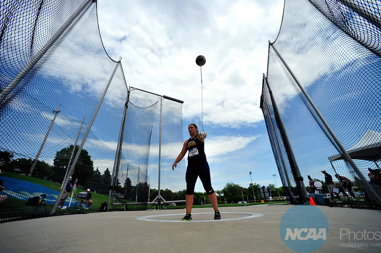06 JUNE 2012: Jackie Leppelmeier of Kent State competes in the women's hammer throw during Division I Men's and Women's Outdoor Track and Field Championship held at Drake Stadium on Drake University in Des Moines, IA. Stephen Nowland/NCAA Photos
