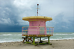 Art Deco Lifeguard Hut.on South Beach Miami, Florida.08-26-2005.Photo by © Fitzroy Barrett 2005