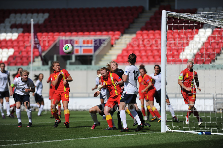 It's a scramble for the ball during the UEFA Womens U19 Championships at Parc y Scarlets, Monday 19th August 2013. All images are the copyright of Jeff Thomas Photography-www.jaypics.photoshelter.com-07837 386244-Any use of images must be authorised by the copyright owner.