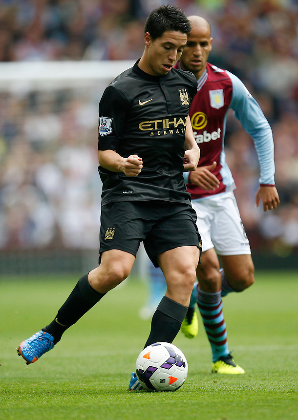 Manchester City's Samir Nasri in action during todays match  <br /> <br /> Photo by Jack Phillips/CameraSport<br /> <br /> Football - Barclays Premiership - Aston Villa v Manchester City - Saturday 28th September 2013 - Villa Park - Birmingham<br /> <br /> &copy; CameraSport - 43 Linden Ave. Countesthorpe. Leicester. England. LE8 5PG - Tel: +44 (0) 116 277 4147 - admin@camerasport.com - www.camerasport.com