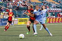 Rochester, NY - Friday July 01, 2016: Chicago Red Stars defender Casey Short (6),  Western New York Flash forward Lynn Williams (9) during a regular season National Women's Soccer League (NWSL) match between the Western New York Flash and the Chicago Red Stars at Rochester Rhinos Stadium.