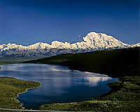 Mount McKinnley and Wonder Lake, Denali National Park, Alaska.  Sept.