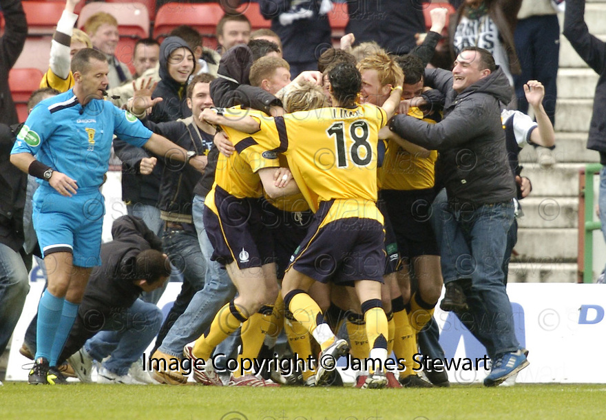 19/05/2007       Copyright Pic: James Stewart.File Name : sct_jspa09_dunfermline_v_falkirk.STEVEN THOMSON IS BOOKED AFTER HE CELEBRATES WITH THE CROWD.....James Stewart Photo Agency 19 Carronlea Drive, Falkirk. FK2 8DN      Vat Reg No. 607 6932 25.Office     : +44 (0)1324 570906     .Mobile   : +44 (0)7721 416997.Fax         : +44 (0)1324 570906.E-mail  :  jim@jspa.co.uk.If you require further information then contact Jim Stewart on any of the numbers above.........