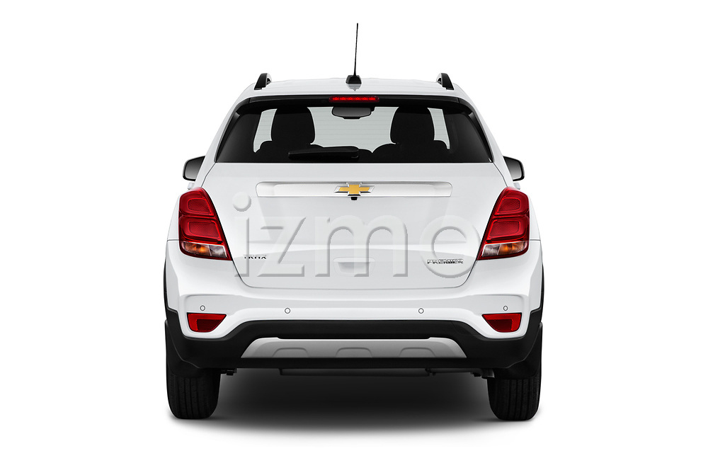 Straight rear view of a 2019 Chevrolet Trax Premier 5 Door SUV stock images