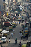 Street scene in the Paharganj district of New Delhi, India.