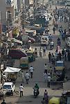 Street scene in the Paharganj district of New Delhi, India.