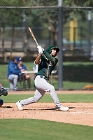 Oakland Athletics first baseman Alfonso Rivas (26) hits a home run during an Instructional League game against the Los Angeles Dodgers at Camelback Ranch on October 4, 2018 in Glendale, Arizona. (Zachary Lucy/Four Seam Images)