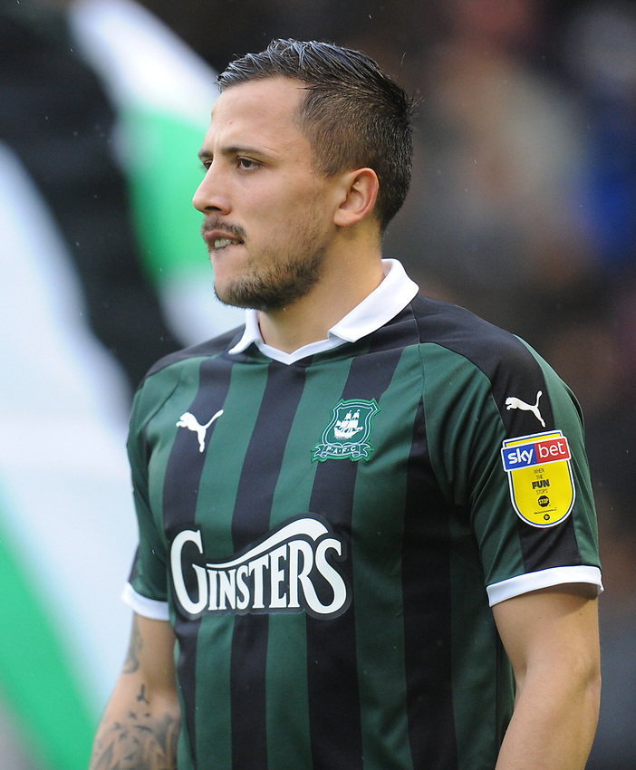 Plymouth Argyle's Antoni Sarcevic<br /> <br /> Photographer Kevin Barnes/CameraSport<br /> <br /> The EFL Sky Bet League One - Plymouth Argyle v Fleetwood Town - Saturday 24th November 2018 - Home Park - Plymouth<br /> <br /> World Copyright © 2018 CameraSport. All rights reserved. 43 Linden Ave. Countesthorpe. Leicester. England. LE8 5PG - Tel: +44 (0) 116 277 4147 - admin@camerasport.com - www.camerasport.com