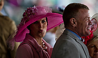 LOUISVILLE, KY - MAY 05: A woman wears a pink hat on Kentucky Oaks Day at Churchill Downs on May 5, 2017 in Louisville, Kentucky. (Photo by Douglas DeFelice/Eclipse Sportswire/Getty Images)