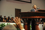 Roland Burris, Illinois Governor Rod Blagojevich's pick to fill Barack Obama's U.S. Senate seat, addresses worshipers at a prayer send-off prior to his departure to Washington at the New Covenant Baptist Church on the South Side of Chicago, Illinois on January 4, 2008.