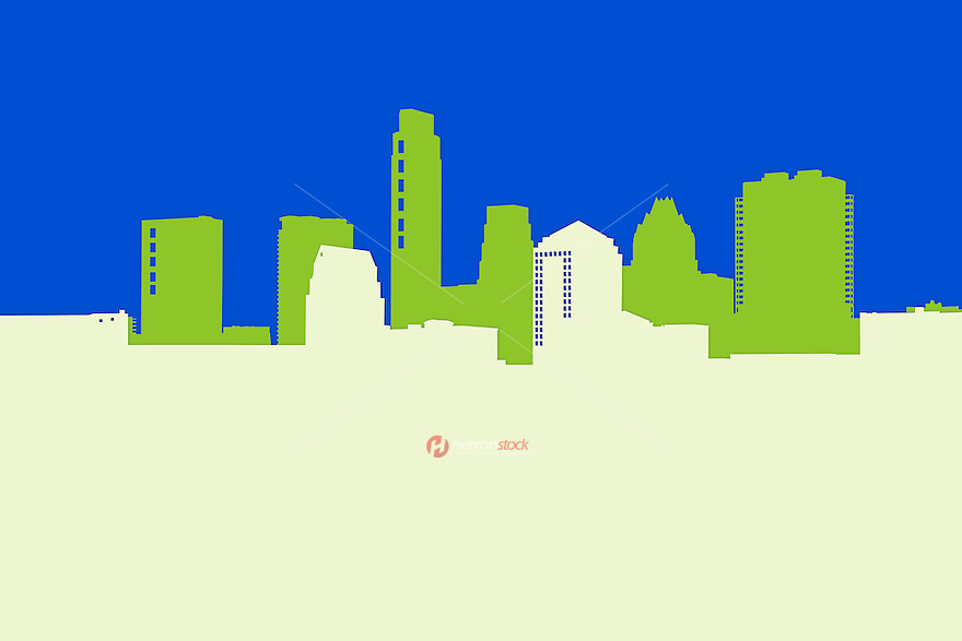 Austin Skyline Outline Illustration with blue sky