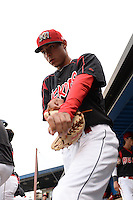Batavia Muckdogs pitcher Jorgan Cavanerio (35) takes the field during a game against the Brooklyn Cyclones on August 11, 2014 at Dwyer Stadium in Batavia, New York.  Batavia defeated Brooklyn 4-3.  (Mike Janes/Four Seam Images)