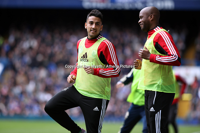 Pictured: Neil Taylor makes a return following a long injury related lay off with an apperance on the substitutes bench.<br /> Barclays Premier League, Chelsea FC (blue) V Swansea City,<br /> 28/04/13