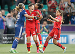 Olympique Lyonnais's Sarah Bouhaddi, Saki Kumagai, Mylaine Tarrieu and Delphine Cascarino celebrate the victory in the UEFA Women's Champions League 2015/2016 Final match.May 26,2016. (ALTERPHOTOS/Acero)