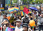 "April 28, 2013, Tokyo, Japan - Sexual minorities - gays, lesbians, bisexuals and transgenders - take to the streets of Tokyo's Shibuya district, launching the first ""Tokyo Rainbow Week,"" a series of events aimed at supporting sexual minorities, on Sunday, April 28, 2013. Some 12,000 people in colorful costumes participated in the parade to kick off the special events which runs until May 6. (Photo by Natsuki Sakai/AFO).."