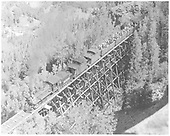RGS #74 with Rocky Club railfan trip on Bridge 46-D on High Line.<br /> RGS  Ophir Loop, CO  9/1/1951
