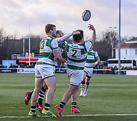 Alun WALKER of Ealing Trailfinders celebrates after he scores his team's first try during the Greene King IPA Championship match between Ealing Trailfinders and Jersey Reds at Castle Bar , West Ealing , England  on 22 December 2018. Photo by David Horn.