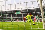 01.12.2018, Weser Stadion, Bremen, GER, 1.FBL, Werder Bremen vs FC Bayern Muenchen, <br /> <br /> DFL REGULATIONS PROHIBIT ANY USE OF PHOTOGRAPHS AS IMAGE SEQUENCES AND/OR QUASI-VIDEO.<br /> <br />  im Bild<br /> <br /> Jiri Pavlenka (Werder Bremen #01) klaert vor Franck Ribery (FC Bayern Muenchen #07)<br />  Aufgenommen mit der Hintertor Remote Kamera<br /> <br /> Foto &copy; nordphoto / Kokenge