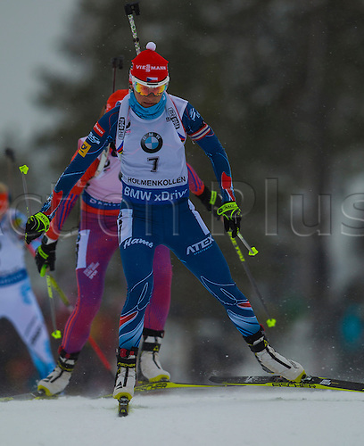 06.03.2016. Oslo Holmenkollen, Oslo, Norway. IBU Biathlon World Championships. Veronika Vitkova of Czech Republic competes in the ladies 10km pursuit competition during the IBU World Championships Biathlon in Holmenkollen Oslo, Norway.