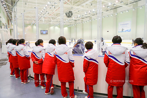 North Korean women's ice hockey team, Jan 25, 2018 : North Korean women's ice hockey team players (front) watch training of South Korean team at an ice-hockey rink at the Jincheon National Training Center, which is a national athletic training center of South Korea, in Jincheon, southeast of Seoul, South Korea. Twelve North Korean players, a coach and two North Korean support staff crossed the border into South Korea on January 25, 2018 to form a joint South-North women's ice hockey team for the 2018 PyeongChang Winter Olympics. EDITORIAL USE ONLY (Photo by Joint Government Support Corps/AFLO) (SOUTH KOREA)
