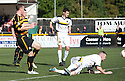 Alloa's Stephen Simmons scores their goal.