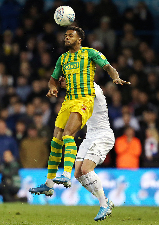 West Bromwich Albion's Darnell Furlong wins an aerial ball<br /> <br /> Photographer Rich Linley/CameraSport<br /> <br /> The EFL Sky Bet Championship - Tuesday 1st October 2019  - Leeds United v West Bromwich Albion - Elland Road - Leeds<br /> <br /> World Copyright © 2019 CameraSport. All rights reserved. 43 Linden Ave. Countesthorpe. Leicester. England. LE8 5PG - Tel: +44 (0) 116 277 4147 - admin@camerasport.com - www.camerasport.com