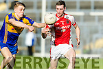 Killian Spillane Kenmare in action against Conor Jenkins Rathmore in the Senior County Football Semi Final in Fitzgerald Stadium on Sunday.
