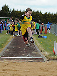 Cillian McLoughlin from Boyne AC taking part in the boys under 10 long jump at Cushinstown AC. Photo: Colin Bell/pressphotos.ie