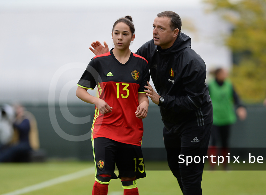 20170914 - TUBIZE ,  BELGIUM : Belgian head coach Ives Serneels pictured with Belgian Lola Wajnblum (left) during the friendly female soccer game between the Belgian Red Flames and European Champion The Netherlands , a friendly game in the preparation for the World Championship qualification round for France 2019, Thurssday 14 th September 2017 at Euro 2000 Center in Tubize , Belgium. PHOTO SPORTPIX.BE | DAVID CATRY