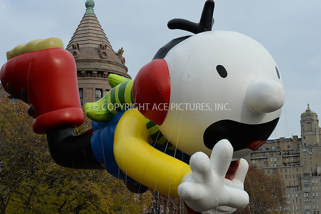 www.acepixs.com<br /> <br /> November 24 2016, New York City<br /> <br /> The Greg Heffley Diary of a Wimpy Kid balloon at the 90th Annual Macy's Thanksgiving Day Parade on November 24, 2016 in New York City. <br /> <br /> By Line: Kristin Callahan/ACE Pictures<br /> <br /> <br /> ACE Pictures Inc<br /> Tel: 6467670430<br /> Email: info@acepixs.com<br /> www.acepixs.com