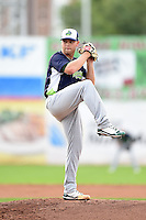 Vermont Lake Monsters pitcher Jerad Grundy (21) delivers a pitch during a game against the Jamestown Jammers on July 12, 2014 at Russell Diethrick Park in Jamestown, New York.  Jamestown defeated Vermont 3-2.  (Mike Janes/Four Seam Images)