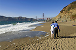 San Francisco: Baker Beach with Golden Gate Bridge in background.  Photo # 2-casanf83750.  Photo copyright Lee Foster
