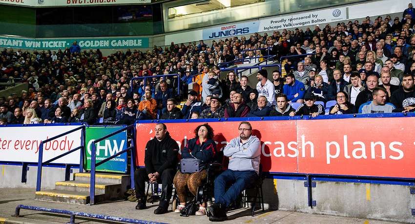 Bolton Wanderers' supporters during the match<br /> <br /> Photographer Andrew Kearns/CameraSport<br /> <br /> EFL Leasing.com Trophy - Northern Section - Group F - Bolton Wanderers v Bradford City -  Tuesday 3rd September 2019 - University of Bolton Stadium - Bolton<br />  <br /> World Copyright © 2018 CameraSport. All rights reserved. 43 Linden Ave. Countesthorpe. Leicester. England. LE8 5PG - Tel: +44 (0) 116 277 4147 - admin@camerasport.com - www.camerasport.com