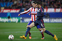 Atletico de Madrid´s Koke (L) and Olympiacos´s Milivojevic during Champions League soccer match between Atletico de Madrid and Olympiacos at Vicente Calderon stadium in Madrid, Spain. November 26, 2014. (ALTERPHOTOS/Victor Blanco) /NortePhoto