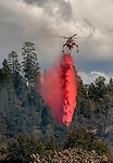 Erickson Sky Crane drops retardant on hot spot on Montgomery Ridge, Division S, Old Yosemite Road, to protect the Greeley Hill community.