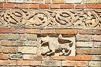 Roanesque relief sculpture details on the 11th centruy portico of the Church of Santa Maria, Benedictine Abbey of Pomposa, Emilia-Romagna, Italy.