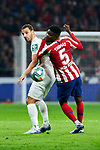 Thomas Teye of Atletico de Madrid and Roberto Soldado of Granada CF during La Liga match between Atletico de Madrid and Granada CF at Wanda Metropolitano Stadium in Madrid, Spain. February 08, 2020. (ALTERPHOTOS/A. Perez Meca)