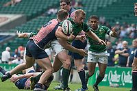 Twickenham, Lancashire, 27th May 2018. Bill Beaumont Division 1 Final, Herts, Dan  WATT, the ball, pops out of grip from the tackle by Andrew HUGHES, during the  Lancashire vs Hertfordshire,    RFU. Stadium, Twickenham. UK.  <br /> <br /> &copy; Peter Spurrier/Alamy Live News