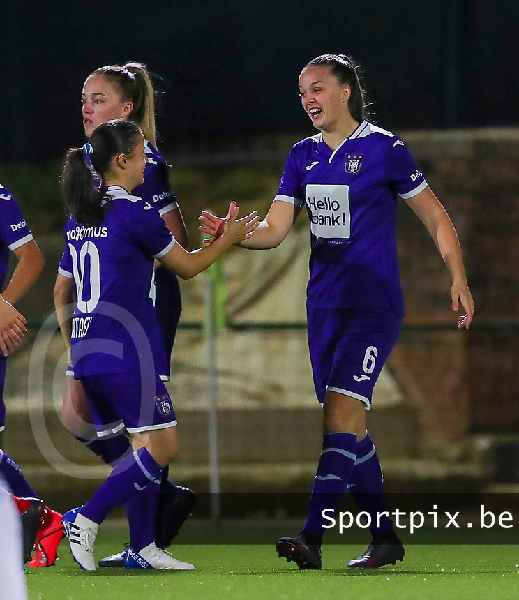 20190920 – LEUVEN, BELGIUM : RSC Anderlecht's  Tine De Caigny (9) is congratulated by Stefania-lulia Vatafu for her goal during a women soccer game between Dames Oud Heverlee Leuven A and RSC Anderlecht Ladies on the fourth matchday of the Belgian Superleague season 2019-2020 , the Belgian women's football  top division , friday 20 th September 2019 at the Stadion Oud-Heverlee Korbeekdam in Oud Heverlee  , Belgium  .  PHOTO SPORTPIX.BE | SEVIL OKTEM