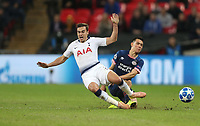 Tottenham Hotspur's Harry Winks and PSV Eindhoven's Hirving Lozano<br /> <br /> Photographer Rob Newell/CameraSport<br /> <br /> UEFA Champions League -Group B - Tottenham Hotspur v PSV Eindhoven - Tuesday 6th November 2018 - Wembley Stadium - London<br />  <br /> World Copyright © 2018 CameraSport. All rights reserved. 43 Linden Ave. Countesthorpe. Leicester. England. LE8 5PG - Tel: +44 (0) 116 277 4147 - admin@camerasport.com - www.camerasport.com
