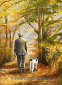 Marcello, MASCULIN, MÄNNLICH, MASCULINO, paintings+++++,ITMCEDM1057,#M# ,dog,walk,forrest,park ,everyday