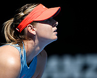 14th January 2019, Melbourne Park, Melbourne, Australia; Australian Open Tennis, day 1; <br /> Maria Sharapova of Russia looks during  a match against Harriet Dart of Great Britain