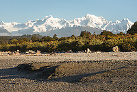 Coastal scene from Gillespies Beach with Southern Alps in background, Westland Tai Poutini National Park, UNESCO World Heritage Area, West Coast, New Zealand, NZ