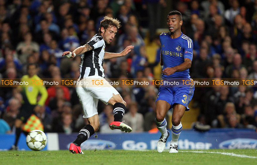 Claudio Marchisio of Juventus and Ashley Cole of Chelsea - Chelsea vs Juventus, Champions League at Stamford Bridge, Chelsea - 19/09/12 - MANDATORY CREDIT: Rob Newell/TGSPHOTO - Self billing applies where appropriate - 0845 094 6026 - contact@tgsphoto.co.uk - NO UNPAID USE.