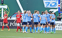Portland, Oregon - Saturday July 2, 2016: Sky Blue react after Tasha Kai scored a goal during a regular season National Women's Soccer League (NWSL) match at Providence Park.