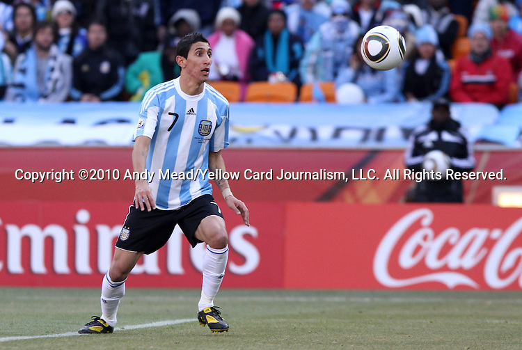 17 JUN 2010: Angel di Maria (ARG). The Argentina National Team defeated the South Korea National Team 4-1 at Soccer City Stadium in Johannesburg, South Africa in a 2010 FIFA World Cup Group E match.