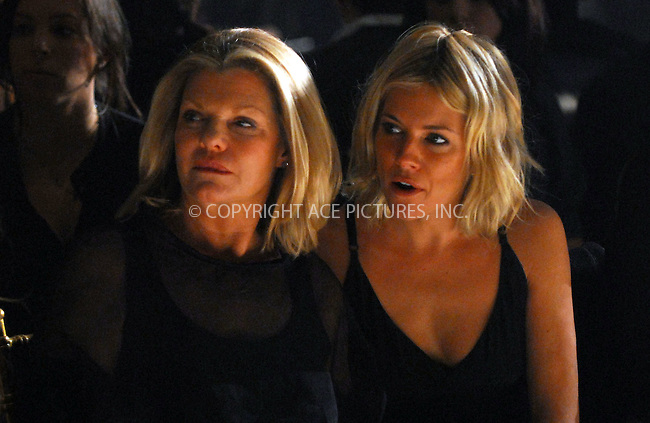 WWW.ACEPIXS.COM....February 2 2007, New York City....Actress Sienna Miller and her mother in the front row at the Rag and Bone Fall 2007 collection at Mercedes-Benz Fashion Week.......Byline:  KRISTIN CALLAHAN - ACEPIXS.COM....For information please contact:....Philip Vaughan, 212 243 8787 or 646 769 0430..Email: info@acepixs.com..Web: WWW.ACEPIXS.COM