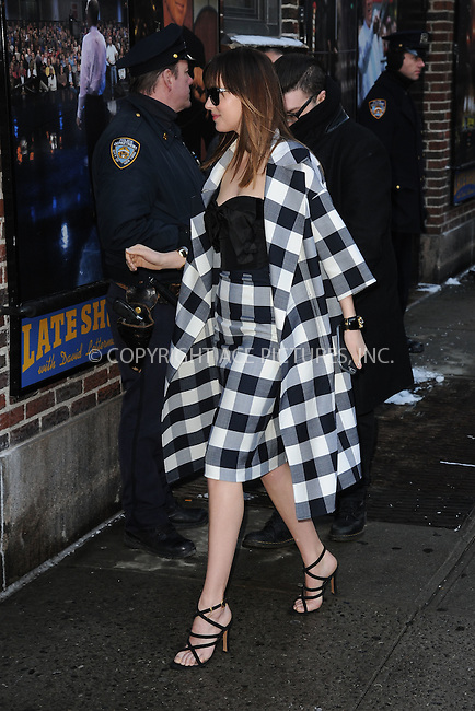 WWW.ACEPIXS.COM <br /> February 17, 2015 New York City<br /> <br /> Dakota Johnson tapes an appearance on the Late Show with David Letterman on February 17, 2015 in New York City.<br /> <br /> Please byline: Kristin Callahan/ACE Pictures  <br /> <br /> ACEPIXS.COM<br /> Ace Pictures, Inc<br /> tel: (212) 243 8787 or (646) 769 0430<br /> e-mail: info@acepixs.com<br /> web: http://www.acepixs.com